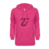 ENZA Ladies Hot Pink V Notch Raw Edge Fleece Hoodie-Primary Logo Hot Pink Glitter