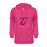 ENZA Ladies Hot Pink V Notch Raw Edge Fleece Hoodie-Primary Logo Hot Pink Glitter