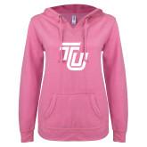 ENZA Ladies Hot Pink V Notch Raw Edge Fleece Hoodie-University TU