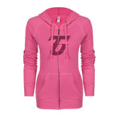 ENZA Ladies Hot Pink Light Weight Fleece Full Zip Hoodie-Primary Logo Hot Pink Glitter