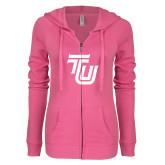 ENZA Ladies Hot Pink Light Weight Fleece Full Zip Hoodie-University TU