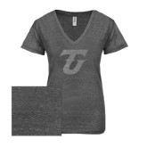 ENZA Ladies Graphite Melange V Neck Tee-Primary Logo Silver Soft Glitter