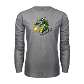 Grey Long Sleeve T Shirt-Dragon with Text