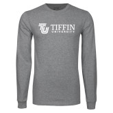 Grey Long Sleeve T Shirt-TU with Tiffin Universrity Horizontal