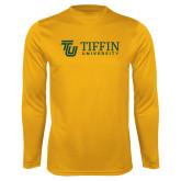 Performance Gold Longsleeve Shirt-TU with Tiffin Universrity Horizontal