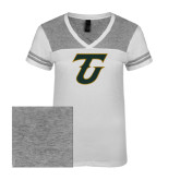Ladies White/Heathered Nickel Juniors Varsity V Neck Tee-Primary Logo