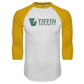 White/Gold Raglan Baseball T Shirt-TU with Tiffin Universrity Horizontal