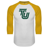 White/Gold Raglan Baseball T Shirt-University TU