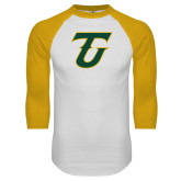 White/Gold Raglan Baseball T Shirt-Athletic TU