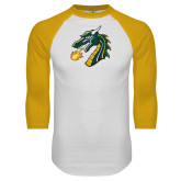 White/Gold Raglan Baseball T Shirt-Dragon Head
