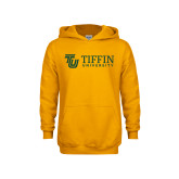 Youth Gold Fleece Hoodie-TU with Tiffin Universrity Horizontal