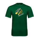 Performance Dark Green Tee-Dragon with Text