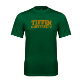 Performance Dark Green Tee-Tiffin University Arched and Stacked