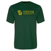 Performance Dark Green Tee-TU with Tiffin Universrity Horizontal