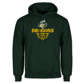 Dark Green Fleece Hood-Dragons Basketball