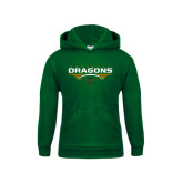 Youth Dark Green Fleece Hoodie-Football with Wings