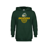 Youth Dark Green Fleece Hoodie-Dragons Basketball