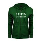 ENZA Ladies Dark Green Fleece Full Zip Hoodie-Tiffin University