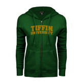 ENZA Ladies Dark Green Fleece Full Zip Hoodie-Tiffin University Arched and Stacked