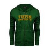 ENZA Ladies Dark Green Fleece Full Zip Hoodie-Tiffin University Arched and Stacked