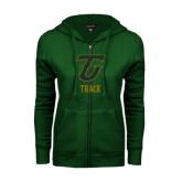 ENZA Ladies Dark Green Fleece Full Zip Hoodie-Track