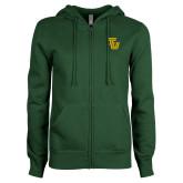 ENZA Ladies Dark Green Fleece Full Zip Hoodie-University TU