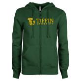 ENZA Ladies Dark Green Fleece Full Zip Hoodie-TU with Tiffin Universrity Horizontal