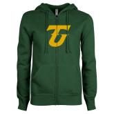 ENZA Ladies Dark Green Fleece Full Zip Hoodie-Athletic TU