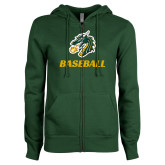 ENZA Ladies Dark Green Fleece Full Zip Hoodie-Baseball