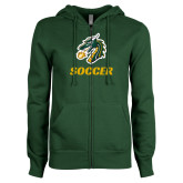 ENZA Ladies Dark Green Fleece Full Zip Hoodie-Soccer