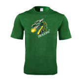 Performance Dark Green Heather Contender Tee-Dragon with Text