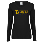Ladies Black Long Sleeve V Neck Tee-TU with Tiffin Universrity Horizontal