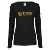 Ladies Black Long Sleeve V Neck Tee-TU with Tiffin Universrity Horizontal