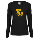 Ladies Black Long Sleeve V Neck Tee-University TU