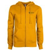 ENZA Ladies Gold Fleece Full Zip Hoodie-TU with Tiffin Universrity Horizontal