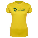 Ladies Syntrel Performance Gold Tee-TU with Tiffin Universrity Horizontal