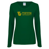 Ladies Dark Green Long Sleeve V Neck Tee-TU with Tiffin Universrity Horizontal