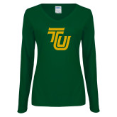 Ladies Dark Green Long Sleeve V Neck Tee-University TU
