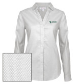 Ladies Red House Diamond Dobby White Long Sleeve Shirt-TU with Tiffin Universrity Horizontal
