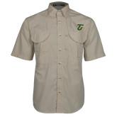 Khaki Short Sleeve Performance Fishing Shirt-Athletic TU