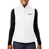 Columbia Lake 22 Ladies White Vest-TU with Tiffin Universrity Horizontal