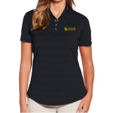 Ladies Callaway Horizontal Textured Black Polo-TU with Tiffin Universrity Horizontal