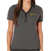 Ladies Callaway Core Stripe Black/White Polo-TU with Tiffin Universrity Horizontal