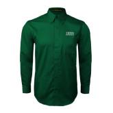 Dark Green Twill Button Down Long Sleeve-Tiffin University