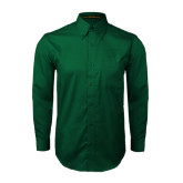 Dark Green Twill Button Down Long Sleeve-Primary Logo