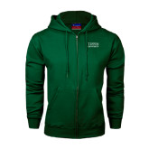 Dark Green Fleece Full Zip Hoodie-Tiffin University