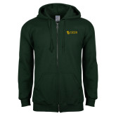Dark Green Fleece Full Zip Hoodie-TU with Tiffin Universrity Horizontal