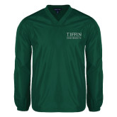 V Neck Dark Green Raglan Windshirt-Tiffin University