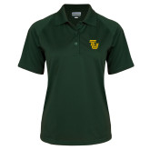 Ladies Dark Green Textured Saddle Shoulder Polo-University TU