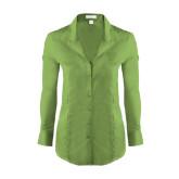 Ladies Red House Green Herringbone Non Iron Long Sleeve Shirt-Primary Logo